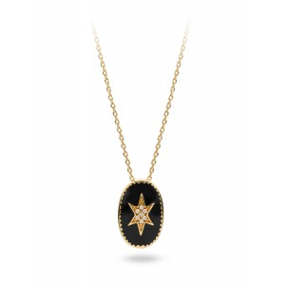 Collier MYA BAY étoile du nord émaillée noir, bijoux de marque Mya Bay