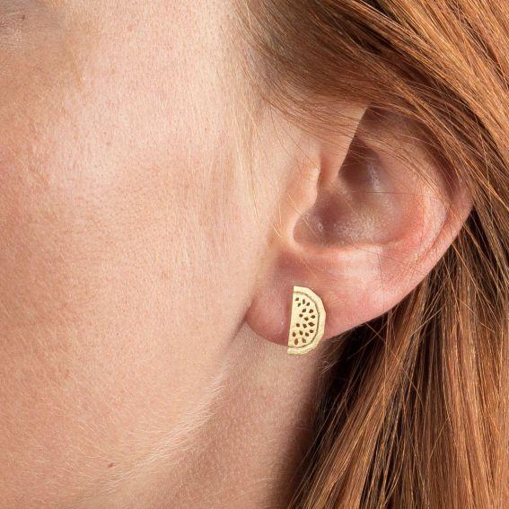 Boucles d'oreilles 7bis pastèque dorées