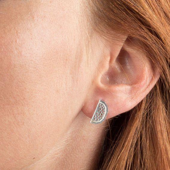 Boucles d'oreilles 7bis pastèque argentées
