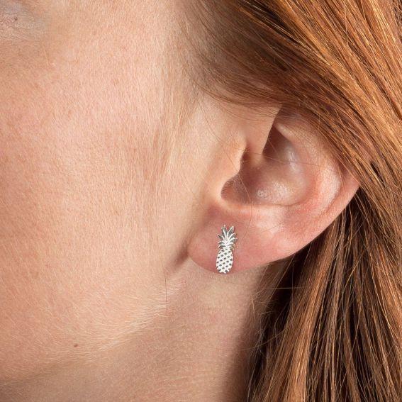 Boucles d'oreilles 7bis ananas argentées
