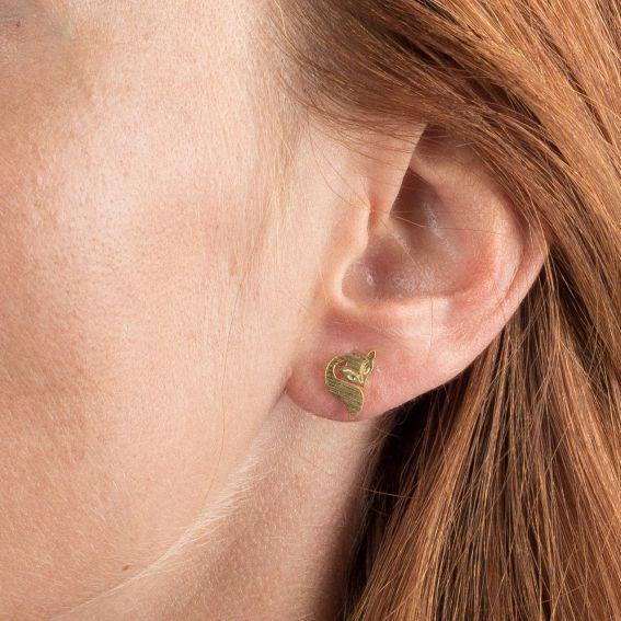 Boucles d'oreilles 7bis renard dorées