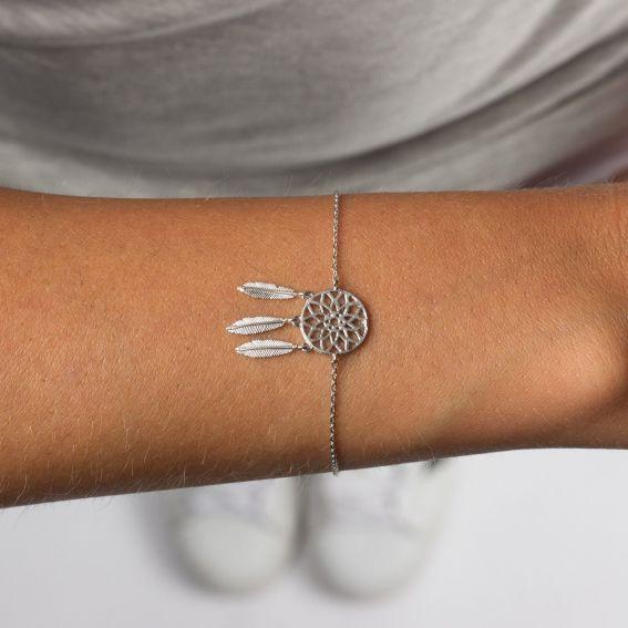 Bracelet 7bis attrape rêve (dreamcatcher) argenté