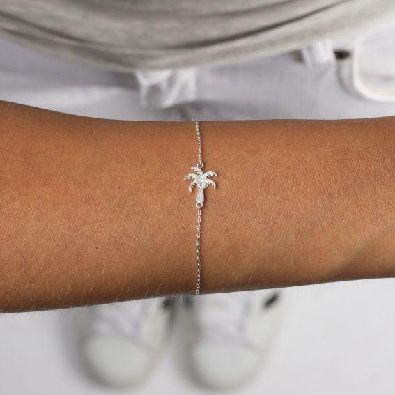 Bracelet 7bis palmier argenté
