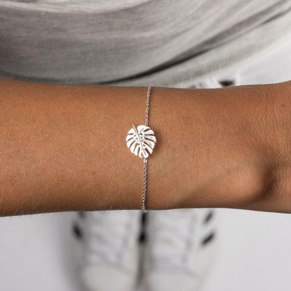 Bracelet 7bis feuille tropicale argenté