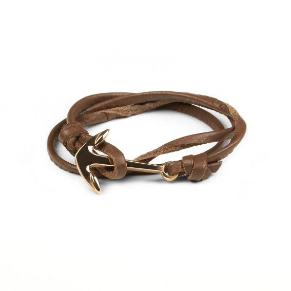 Bracelet ancre marine rosée cuir brun