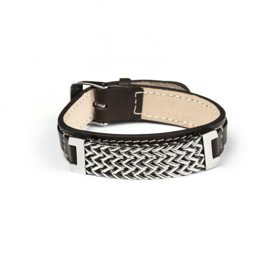 Bijoux bracelet chaine et bracelet en cuir noir