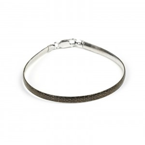 Bracelet oméga en argent 925 peau de python - Bijoux en argent