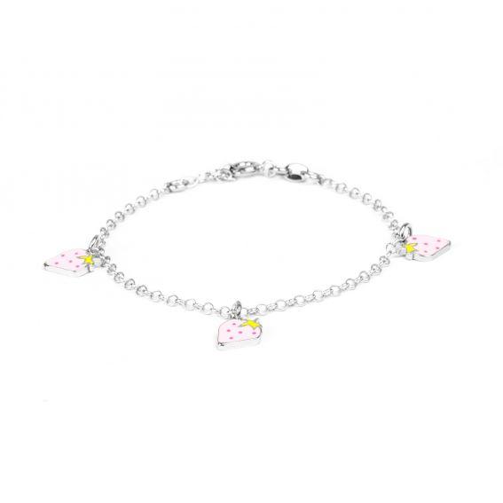Bracelet 3 fraises roses en argent 925 pour enfant - Bijoux en argent