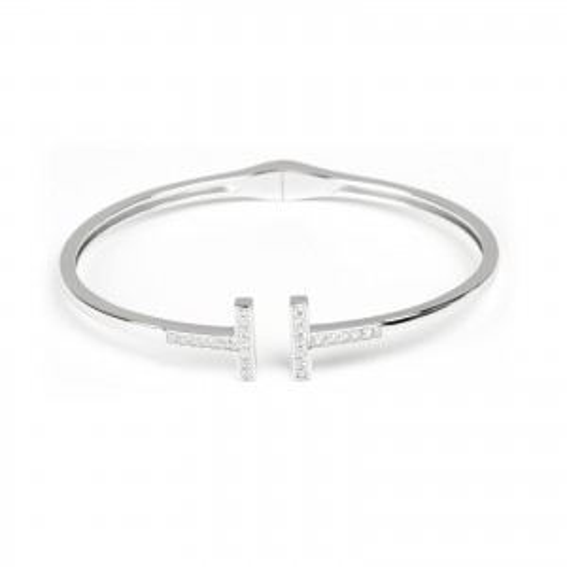 Bracelet esclave en argent 925 double T avec pierre - Bijoux en argent