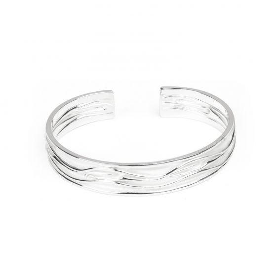 Bracelet vibes blanc, vagues blanchies en argent - Bijoux en argent