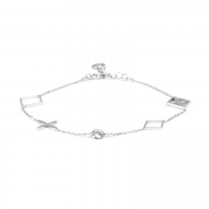 Bracelet zircon central, losanges, inspiration Louis Vitton en argent 925