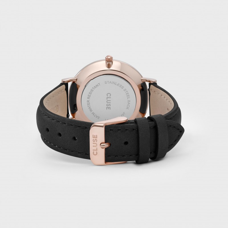 montre cluse la boh me rose gold black black bracelet cuir noir. Black Bedroom Furniture Sets. Home Design Ideas