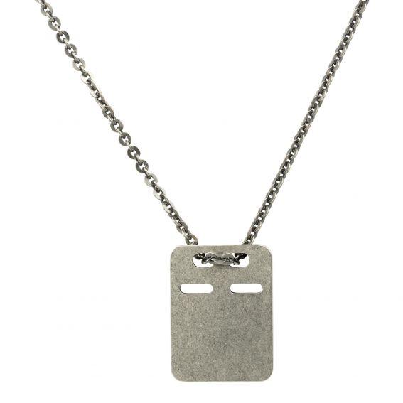 Collier et pendentif plaque mate pour homme - Bijoux en argent 925
