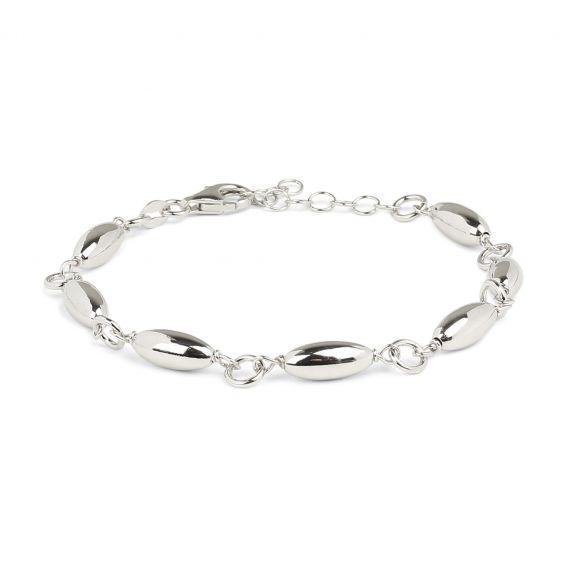 Bracelet femme grains allongés en argent 925 - Bijoux en argent
