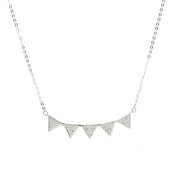 Collier 5 triangles pierres en argent 925 - Bijoux femme en argent