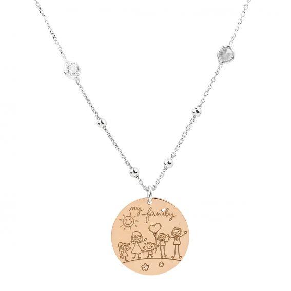 Collier plaque ma famille en argent 925 - Bijoux femme en argent