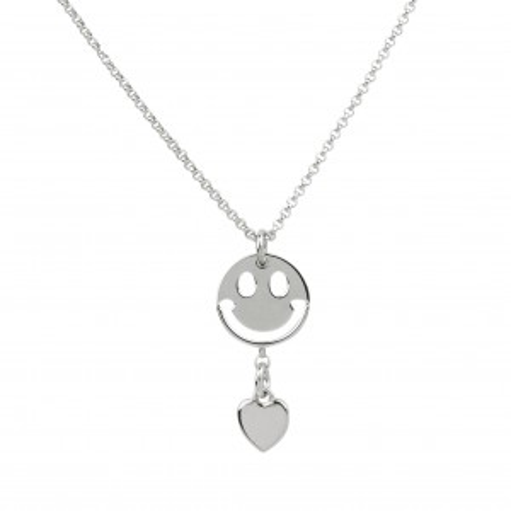 Collier smiley et coeur en argent 925 - Bijoux femme en argent