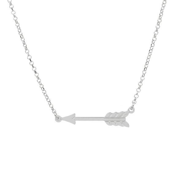 Collier flèche horizontale en argent 925 - Bijoux femme en argent