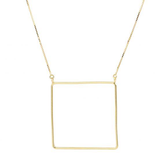 Collier carré doré en argent 925 - Bijoux femme et fille en argent 925