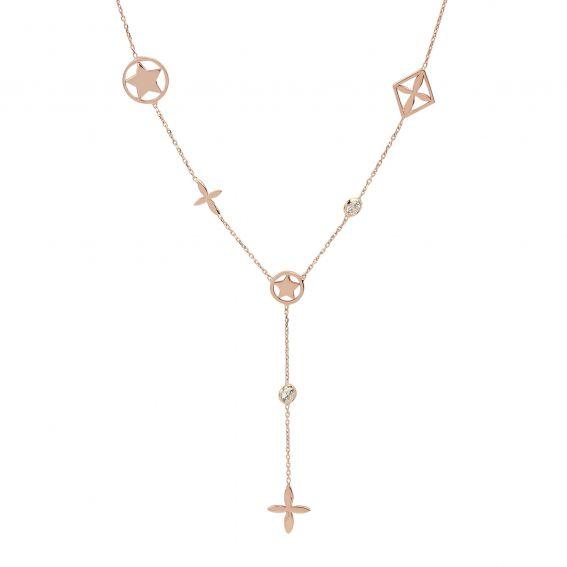 Collier pour femme pierres et motifs rosés en argent 925