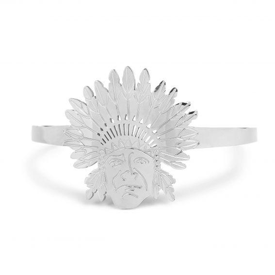 Bracelet tête d'indien en acier - Jonc ouvert, bijou et bracelet