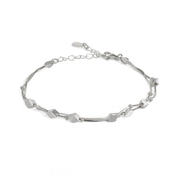 Bracelet losanges brossés en argent - Bijou et bracelet femme
