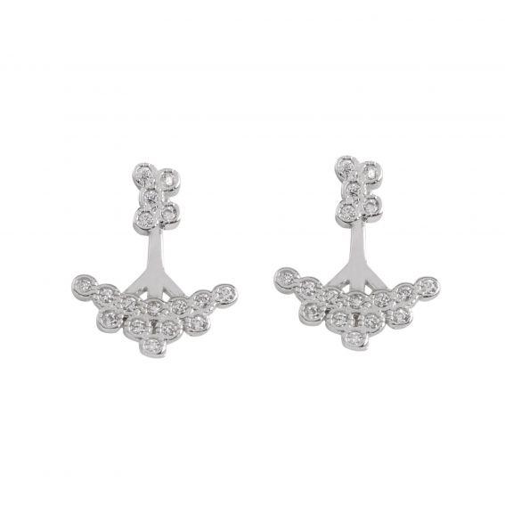 Boucles d'oreilles sous-lobe grappes de pierres - Bijoux en argent