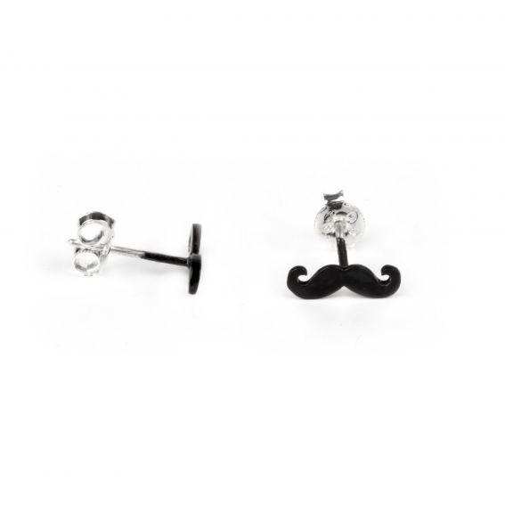Boucles d'oreilles 7bis perceuses moustache argentées