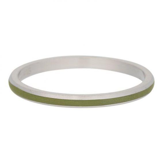 Ruban vert olive argenté iXXXi - Bague marque iXXXi