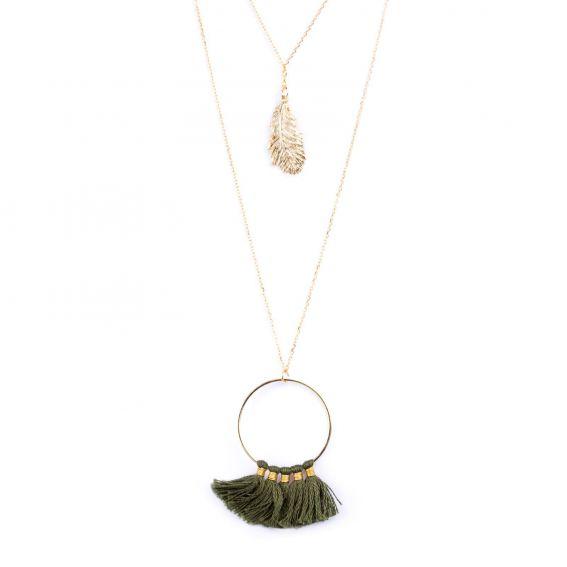 Collier de la marque 7bis multi-rangs pompons et plume - Bijoux 7bis