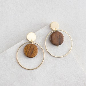 Bijou en argent - Double circle and wood