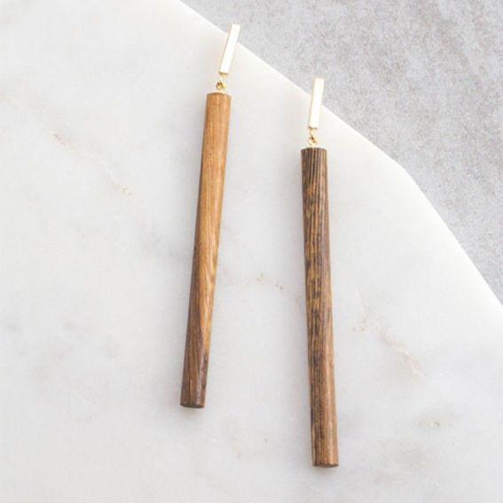 Barrette en bois - Boucles d'oreille et bijoux tendances