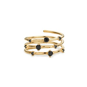 Mya Bay - Ring black stones hoops