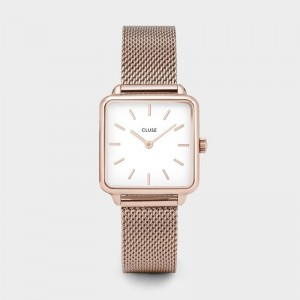 Cluse - Watch CLUSE - The mesh Tetragon rose gold / white
