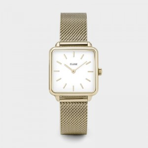 Cluse - Watch CLUSE - The Tetragon gold mesh / white
