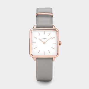 Cluse - Watch CLUSE - The Tetragon rose gold white / stone gray