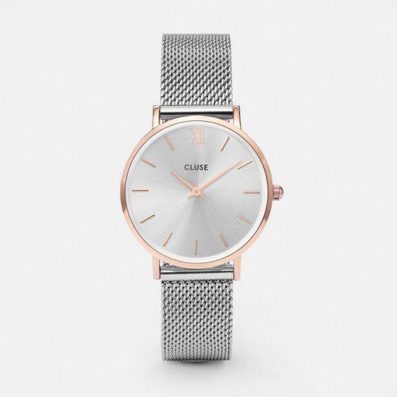 Montre de marque CLUSE - La minuit Mesh rose gold/silver - CL30025