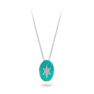 Mya Bay - North Star Necklace turquoise silver enamelled