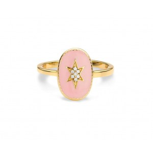 Mya Bay - North Star Ring, pink enamelled