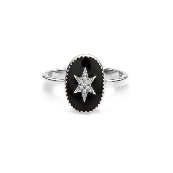 Mya Bay - North Star Ring, Silver black enameled