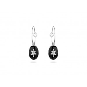 Mya Bay - Creoles north star, silver black enameled