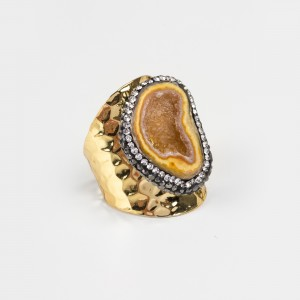 Bypa - yellow stone ring