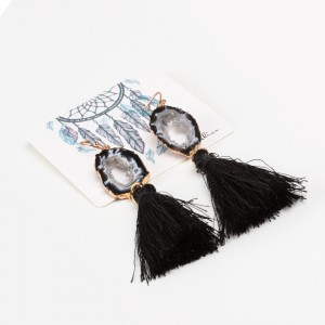 Bypa - Earrings black and white stone