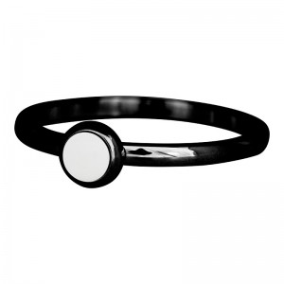 Solitaire pierre blanche noir iXXXi - Bague et bijoux marque iXXXi
