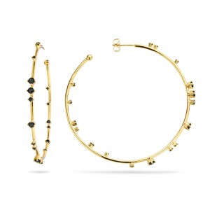 Mya Bay - Creoles black stones hoops