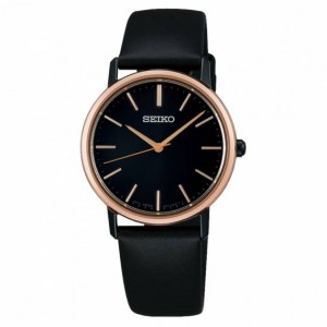 Seiko - Women watches Classic black leather strap Quartz