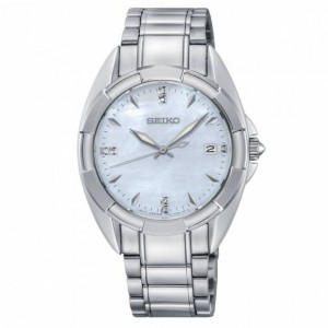 Seiko - Women watches CLASSIC steel 7 diamonds Quartz