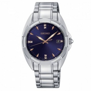 Seiko - Women watches CLASSIC background steel blue diamond