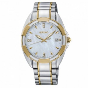 Seiko - Women watches CLASSIC plated steel 7 diamonds Quartz
