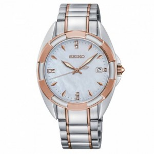 Seiko - Women watches CLASSIC steel rose gold diamond Quartz